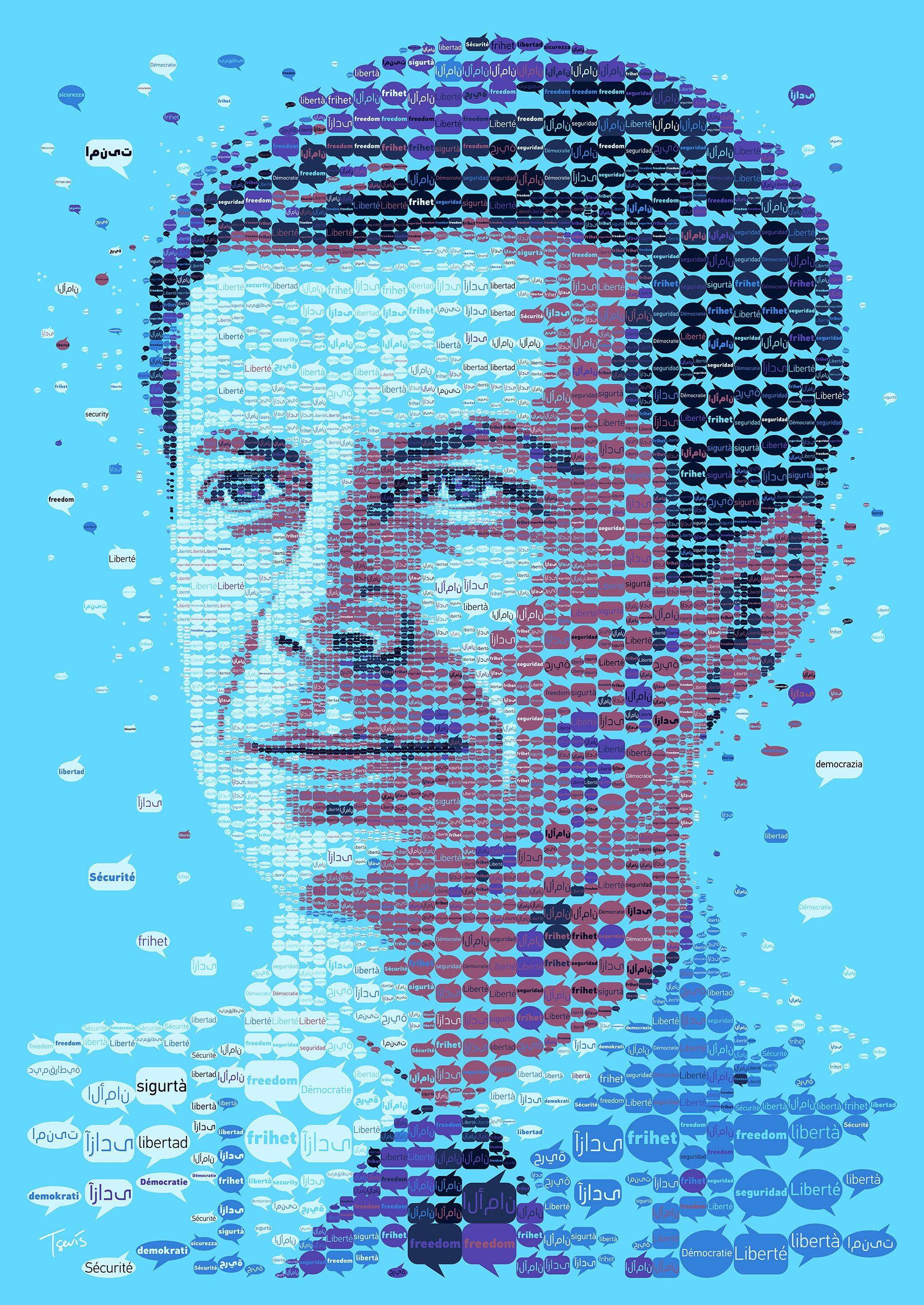 Freedom Democracy Security In 8 Languages Pete Buttigieg Favorite Bumper Sticker Moto Written In English And The 7 Political Artwork Mosaic Portrait Pete