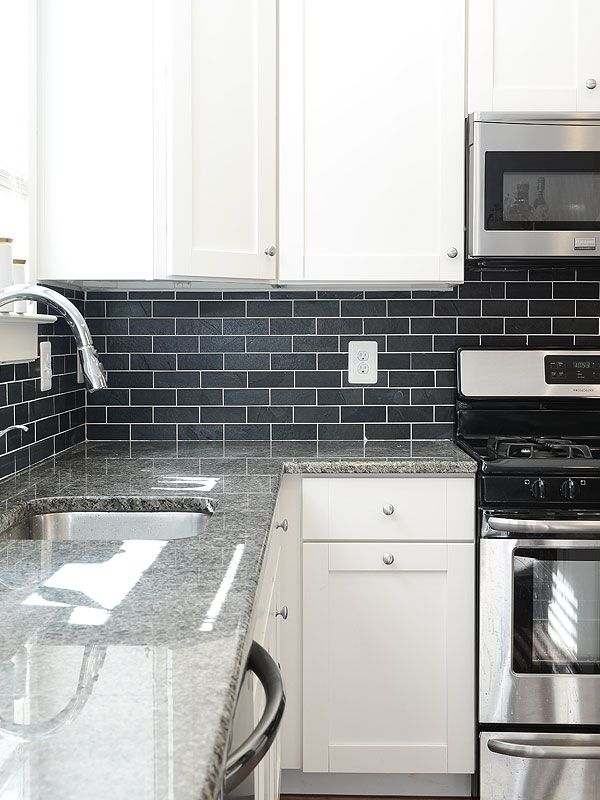 Black slate kitchen backsplash tile from Backsplash Kitchens