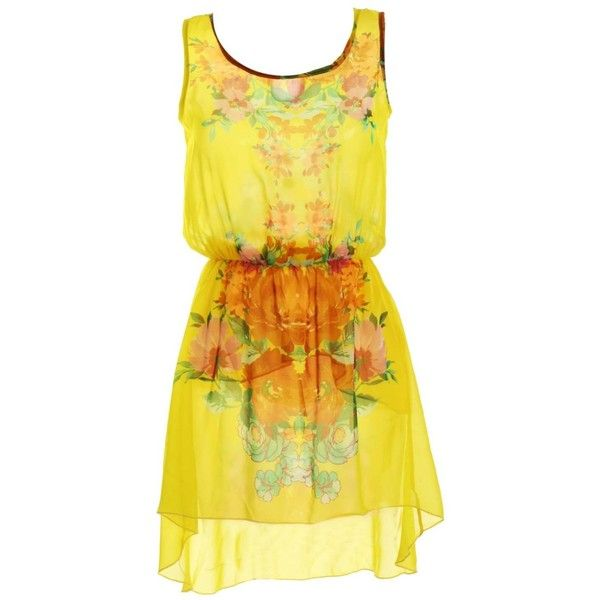 LOVE Yellow Sleeveless Placement Print Dress ❤ liked on Polyvore featuring dresses, vestidos, sleeveless dress, mixed print dress, sleeveless print dress, no sleeve dress and pattern dress