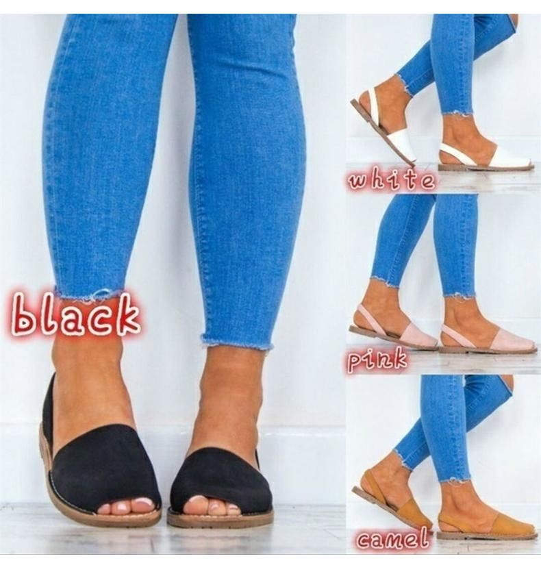 88af65620 Women Sandals Fashion Peep Toe Summer Shoes Woman Faux Suede Flat Sandals  Casual Shoes
