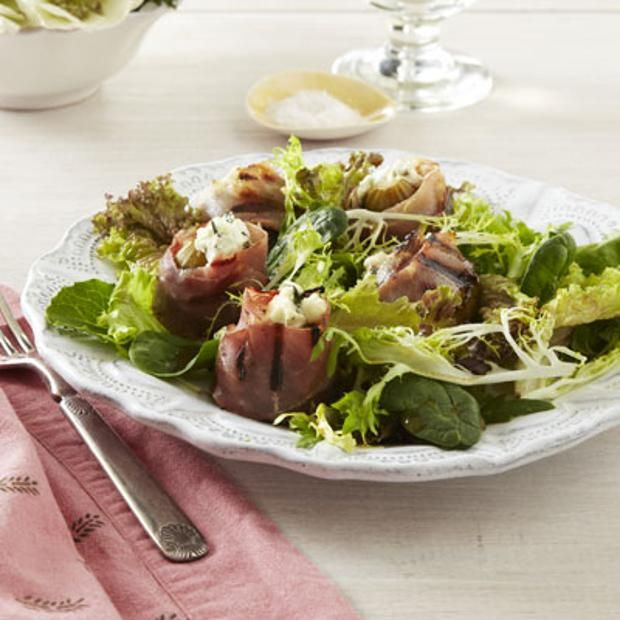 Prosciutto-Wrapped Grilled Fig Salad, sub honey