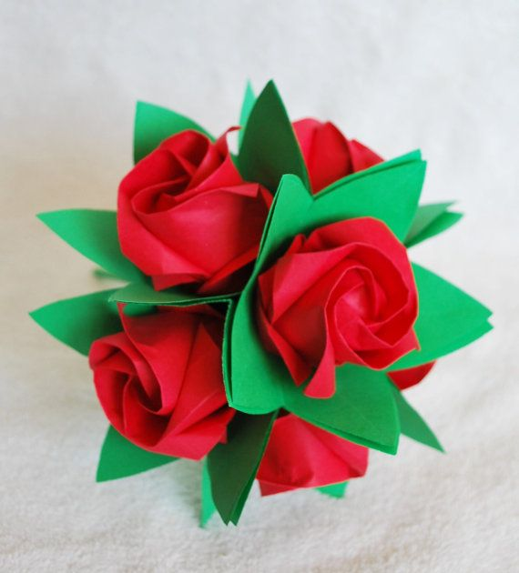 Roses paper flowers bridal bouquet anniversary by artenjoyment diy red rose origami rose paper rose flower rose gift anniversary rose gift for her pentagon rose valentine gift mightylinksfo