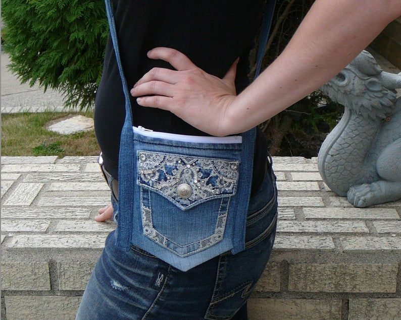Upcycled denim purse, Jean cross body bag, Small s
