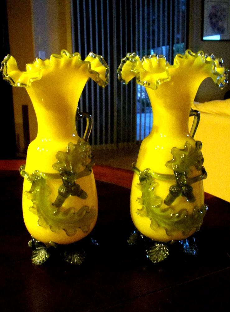 Antique Harrach Yellow Clear Ruffle Art Glass Vase Set Green Acorns
