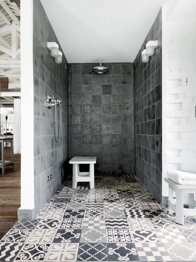 bad dusche ideen industriell beton fliesen dekorativ boden ...