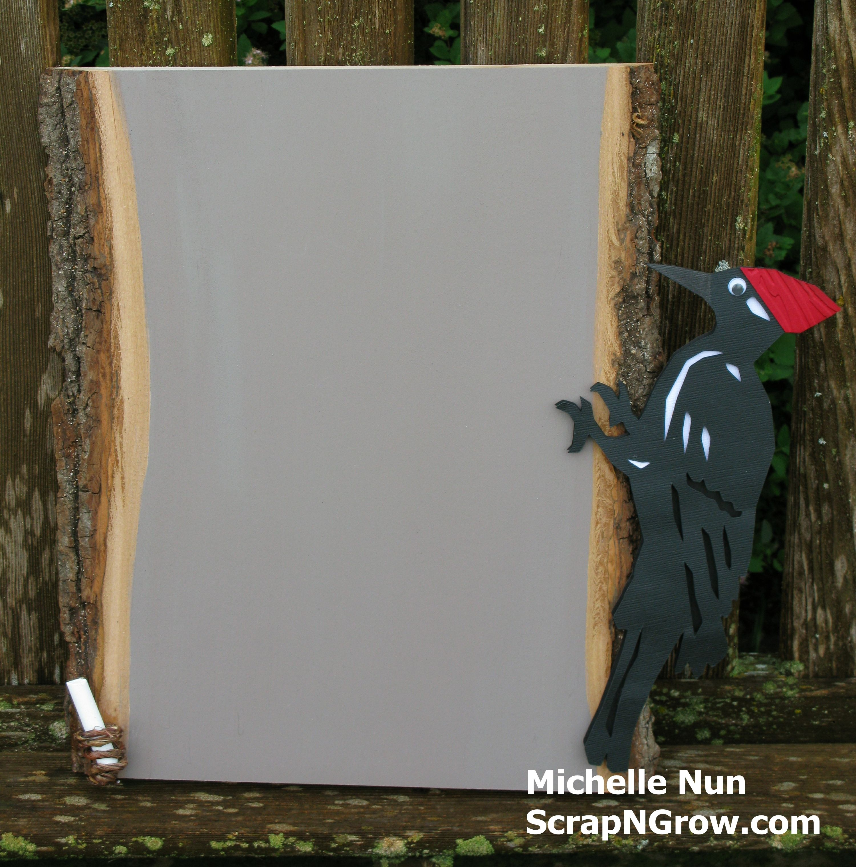 Pileated woodpecker chalkboard made using the states cricut