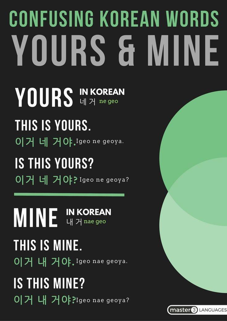 korean makup #makeup Educational infographic : CONFUSING KOREAN WORDS- YOURS amp; MINE