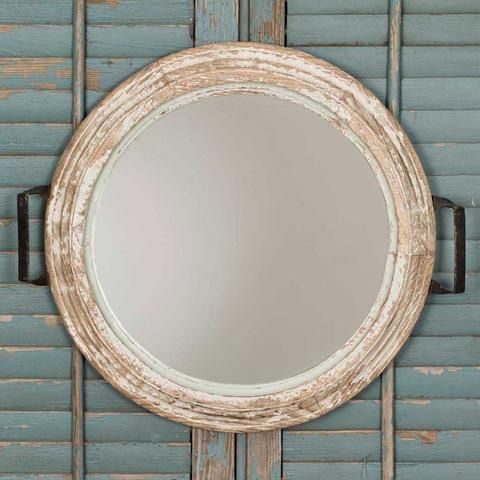 French Country Cottage Style Round Whitewashed Tray Mirror