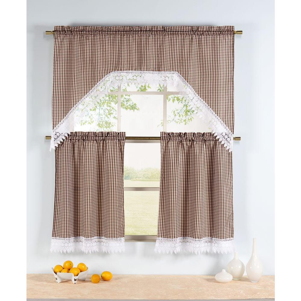 Window Elements Semi Opaque Checkered Chocolate Embroidered 3