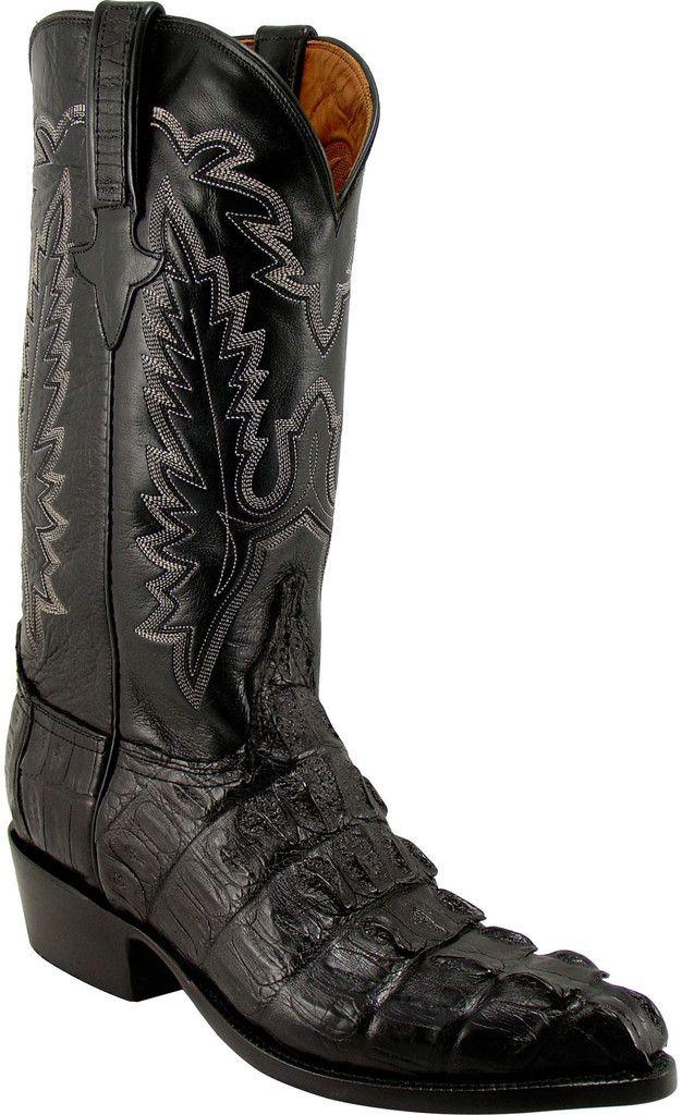 Lucchese Classics L1325 Mens Black Hornback Caiman Crocodile Tail Boot