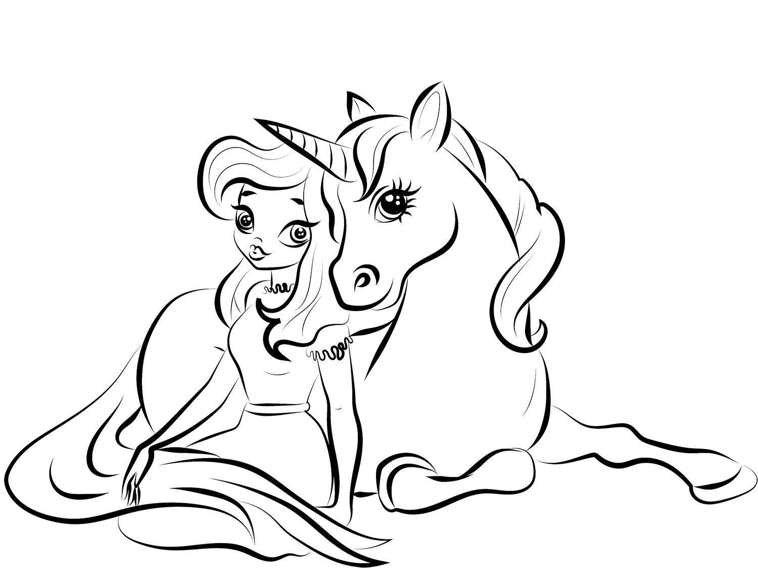 Princess With Unicorn Coloring Pages Princess Coloring Pages Unicorn Coloring Pages Bunny Coloring Pages