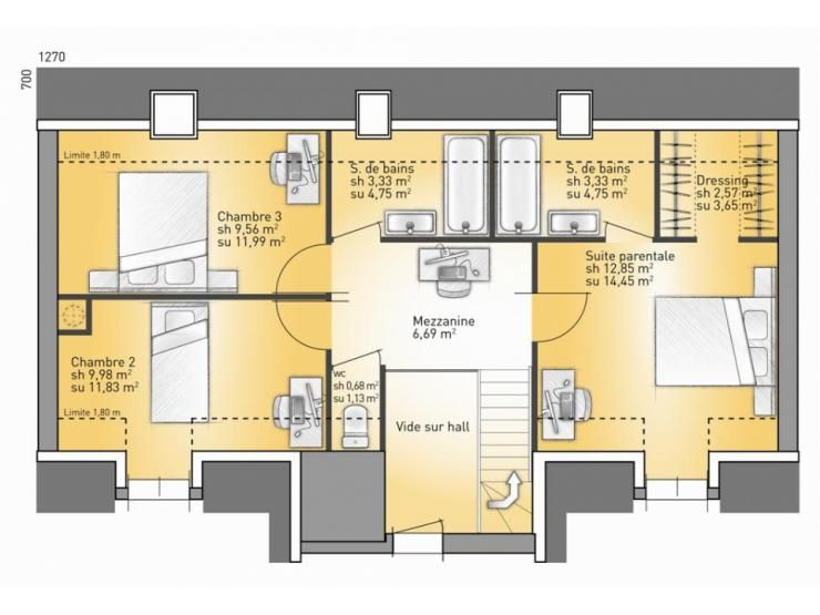 Plans de maison 1er tage du mod le vexin maison for Maison traditionnelle 100m2