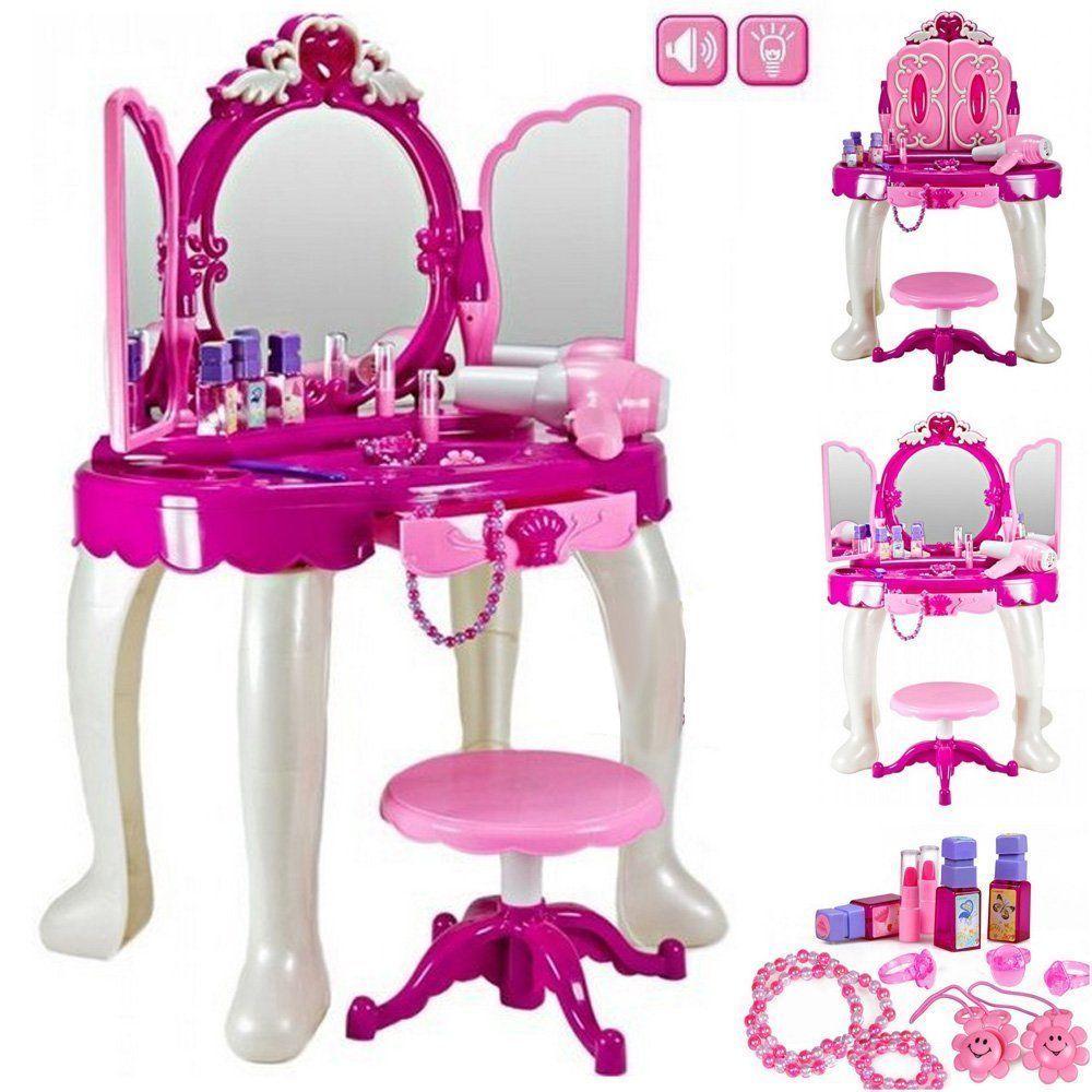 Charming Glamour Mirror Makeup Dressing Table Stool Playset Toy Vanity Light Music  Kids
