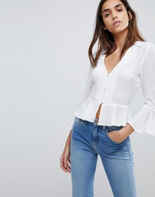 c8f08f19447c79 Missguided Button Detail Peplum Blouse