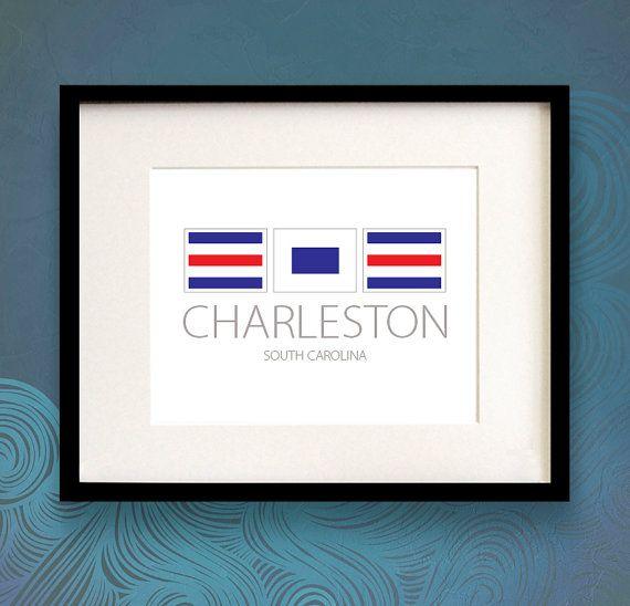 Charleston South Carolina Nautical Flag Art Print Nautical