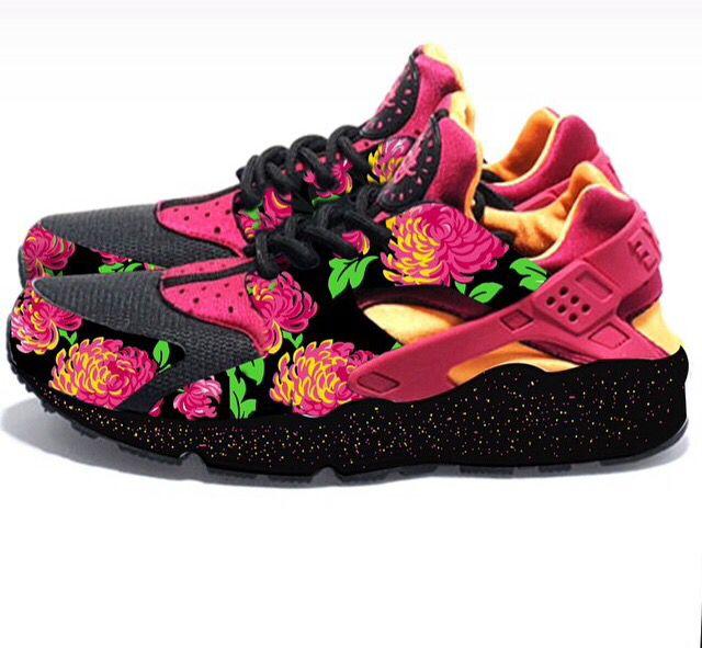 la fascia floreale nike air huarache formatori scarpe droga personalizzati