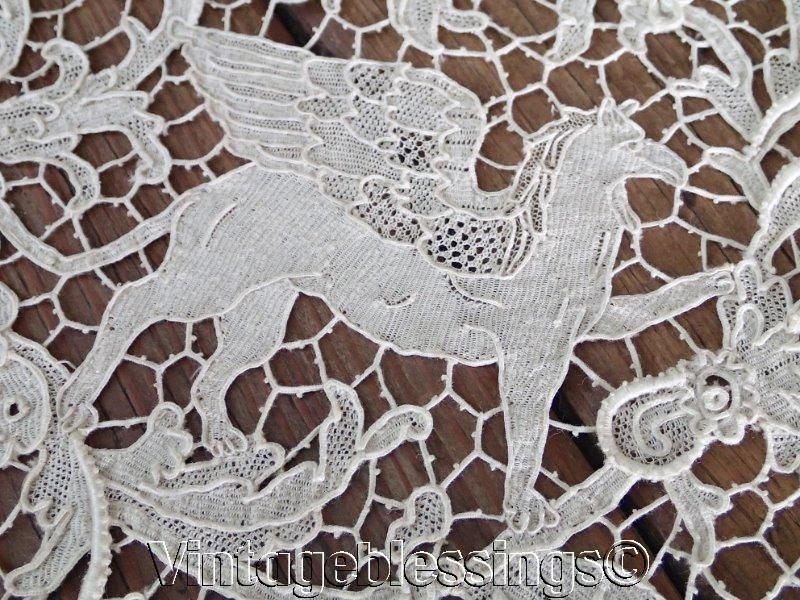 Perfect Antique Figural Italian Lace Tablecloth. Incredible Handwork.  Http://www.ebay