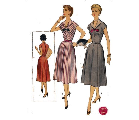 Easy 50s Dress Pattern Flared Skirt Detachable Revers Lapels Etsy 50s Dress Patterns Dresses Dress Pattern