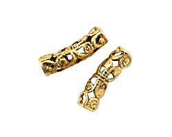 Stampt Antique Gold (plated) Arched Filigree Tube Bead 19x6mm
