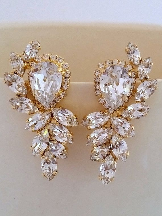 861a40d48 Crystal bridal earrings | White clear crystal Statement stud earrings by  EldorTinaJewelry | http:/