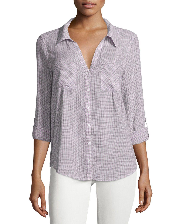 993236d540e1e Joie Cartel Button-Front Plaid Cotton Blouse