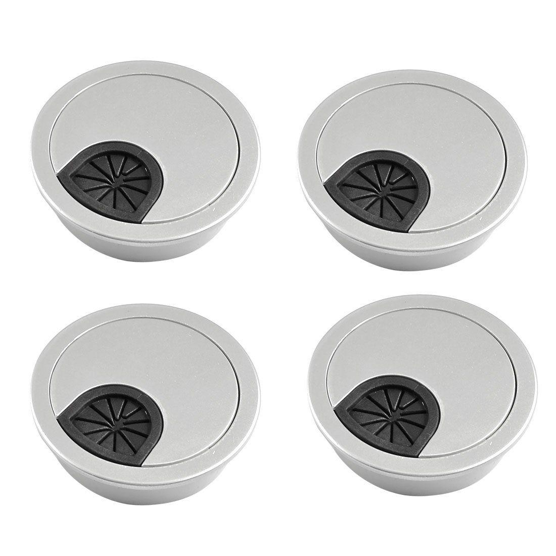 Bsbl 4 pcs round shape silver tone plastic desk grommet