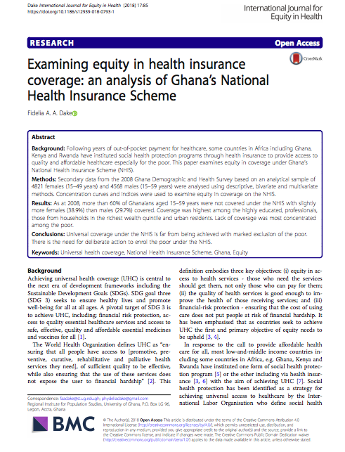 Examining equity in health insurance coverage: an analysis ...