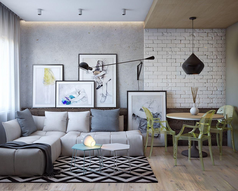 Casinha colorida em tempos de crise papel de parede que simula os tijolos expostos