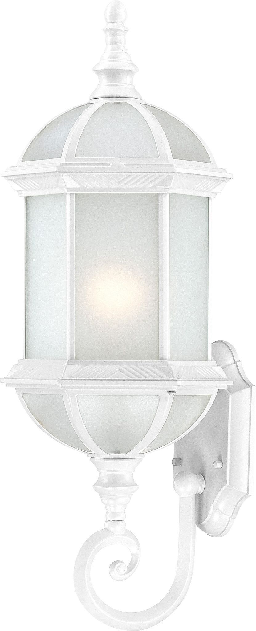 """22"""" Outdoor Wall Lantern in White Finish with Frosted Glass"""