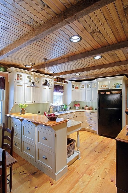 Kitchens With Wood Paneling: Some Similarities With Our Layout And Shows Natural Wood