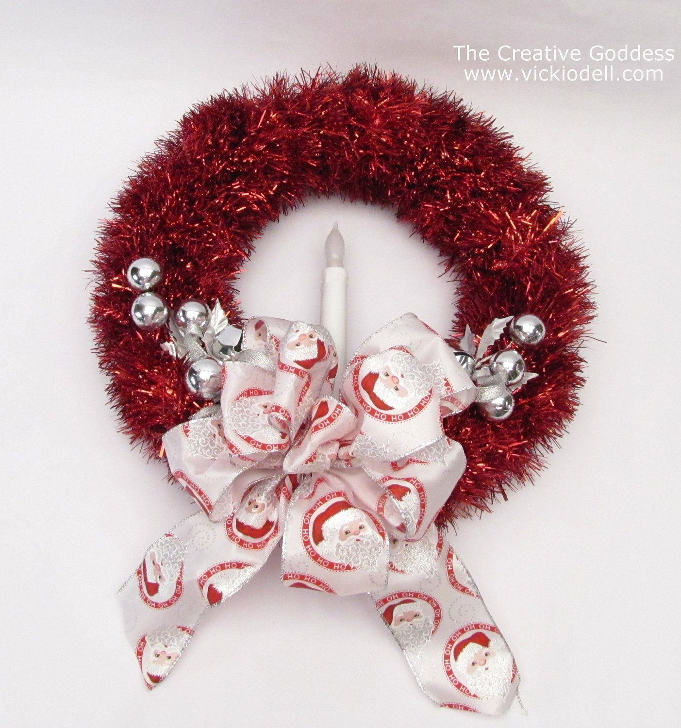 14 Inch Vintage Inspired Red Tinsel Christmas Wreath With Santa Bow Silver Ornaments B O Candle 19 00 Via Etsy