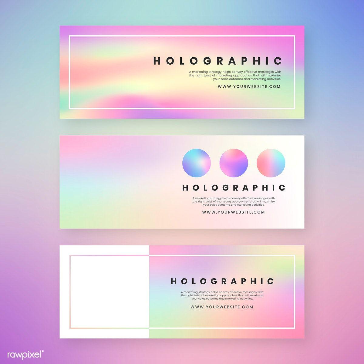 Holographic Website Banner Design Vector Set Free Image By Rawpixel Com Website Banner Design Shop Banner Design Banner Design