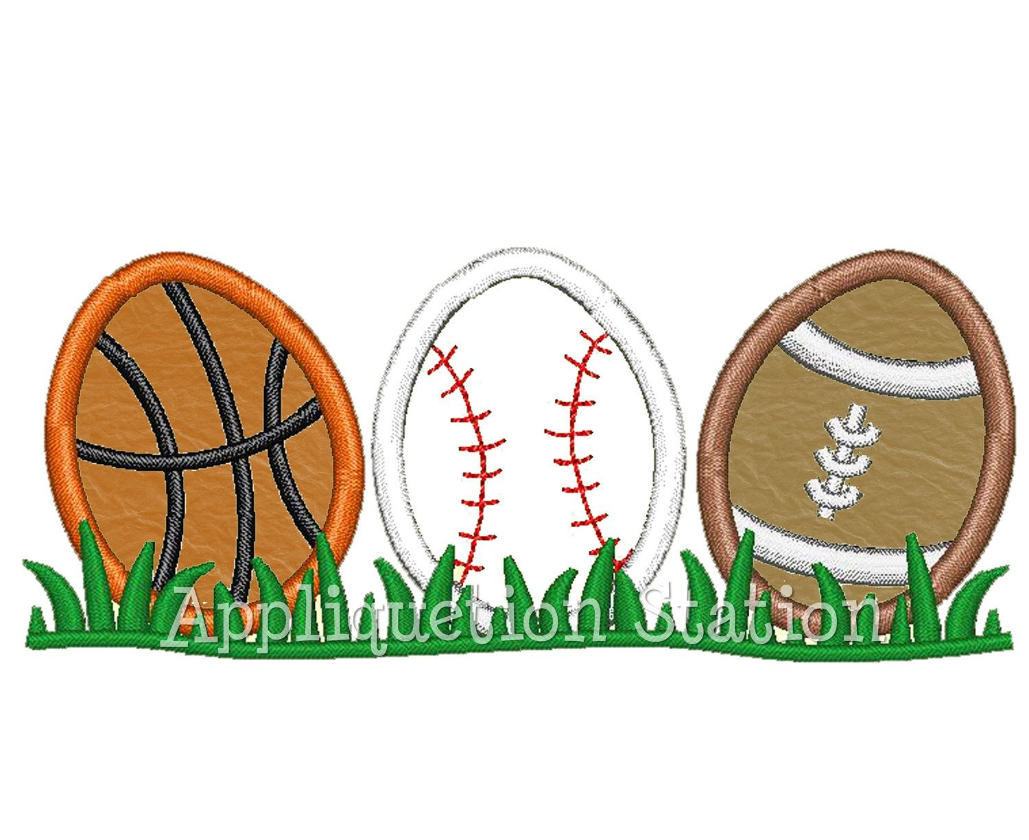 Easter Egg Sport Row Applique Machine Embroidery Design Pattern ...