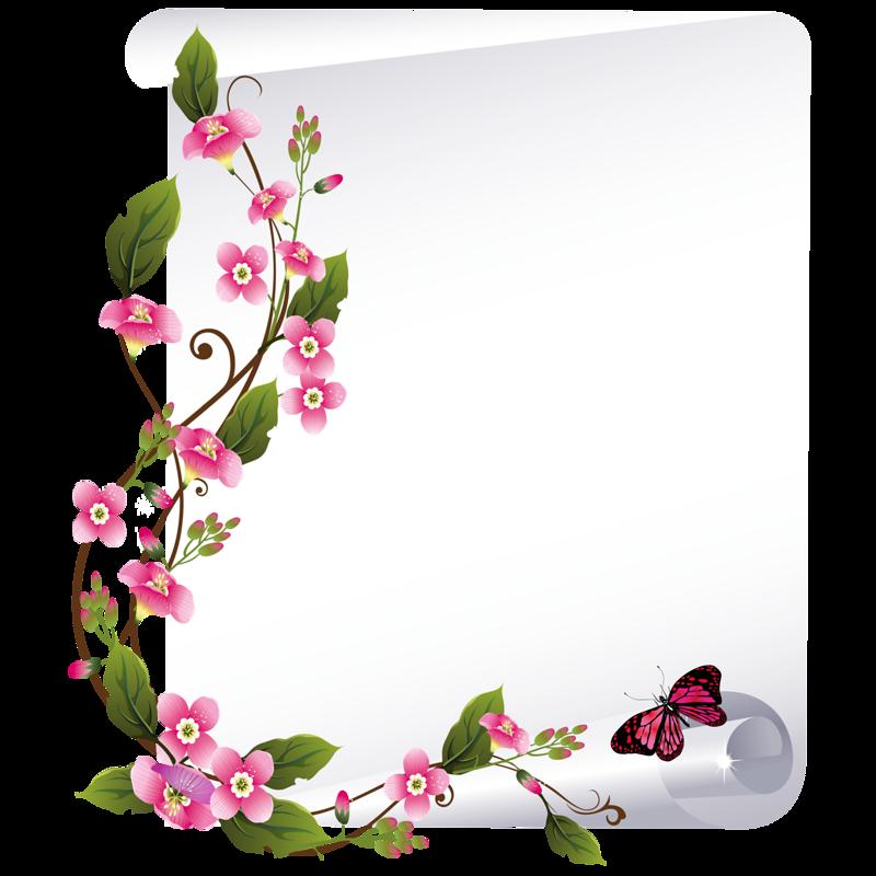 Картинки цветы по краю листа