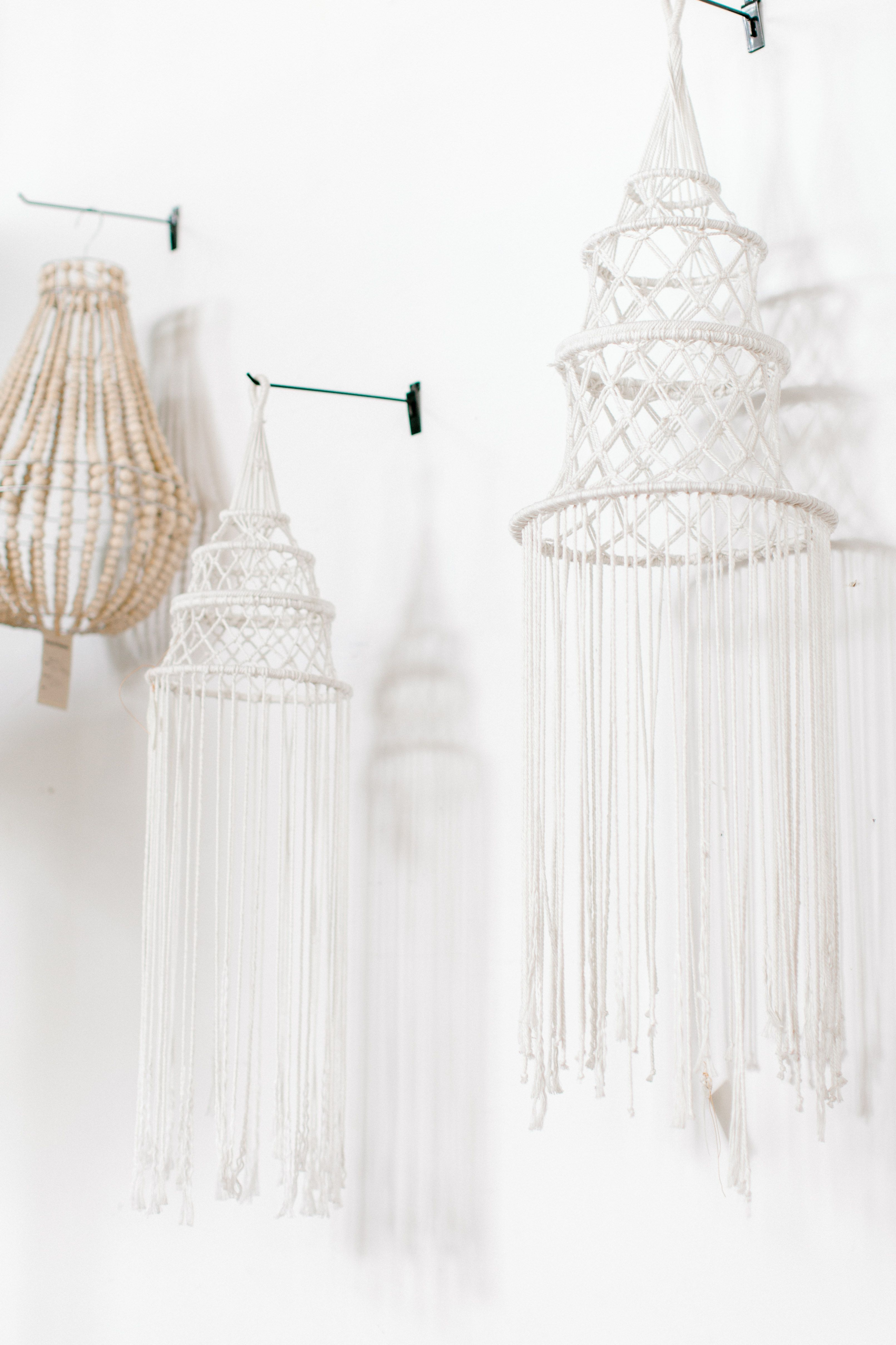 White macramé hangers and wall decor artisanfurniture