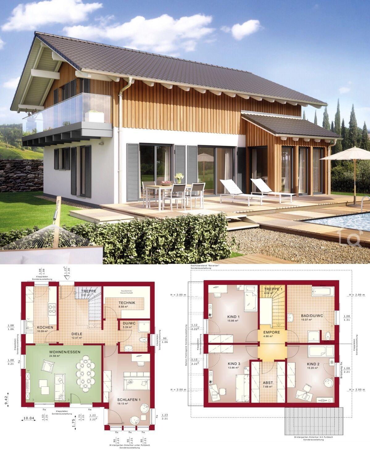 Fertighaus mit Satteldach Architektur & Holz Putz Fassade