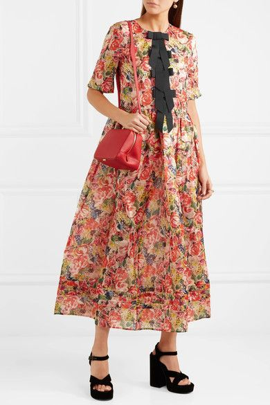 35a2c12a GANNI - Seneca Embellished Floral-print Silk-organza Maxi Dress - Orange