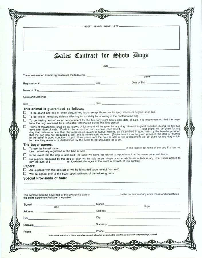 Sales Contract Form  Sample Contracts