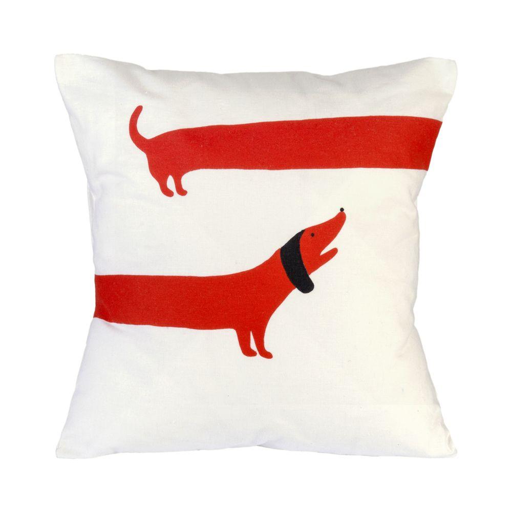 Sausage dog screen printed cushion red screen printing
