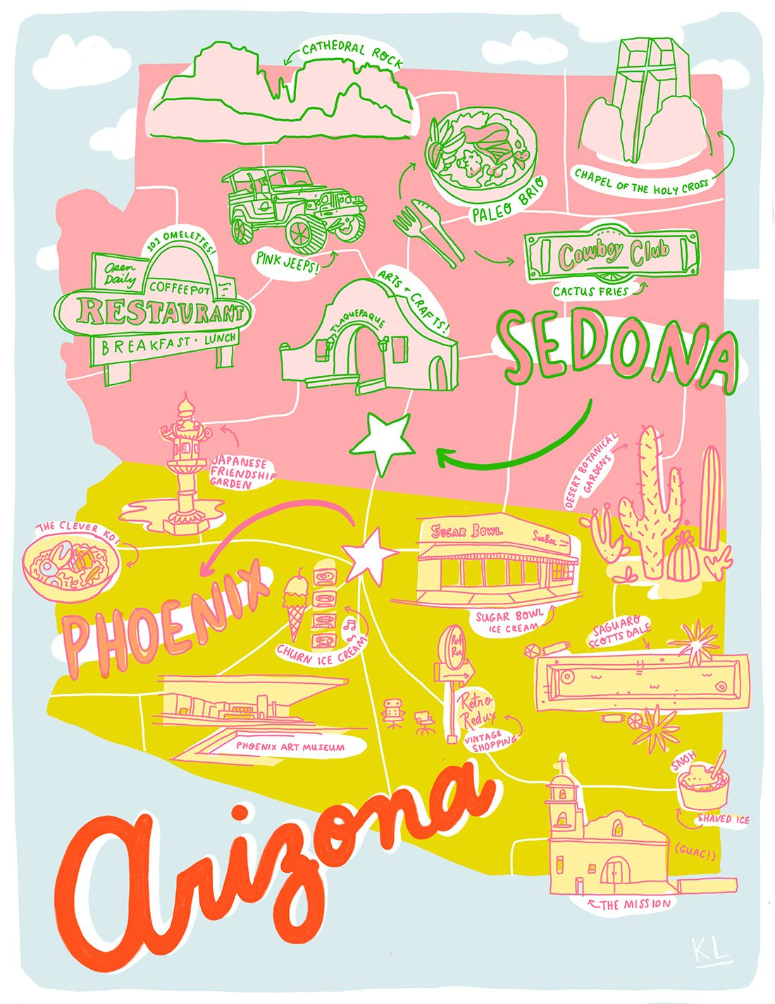 Arizona On A Map Of Usa.Printable Arizona Map By Kristen Long X Aww Sam Illustrations In