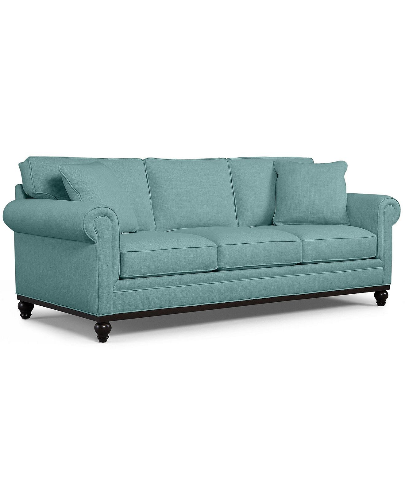 """Buy used macy's martha stewart collection stripe club chair and ottoman in gently used condition with 75% off only on kaiyo. Martha Stewart Fabric Sofa, Club: Custom Colors 89""""W x 38 ..."""
