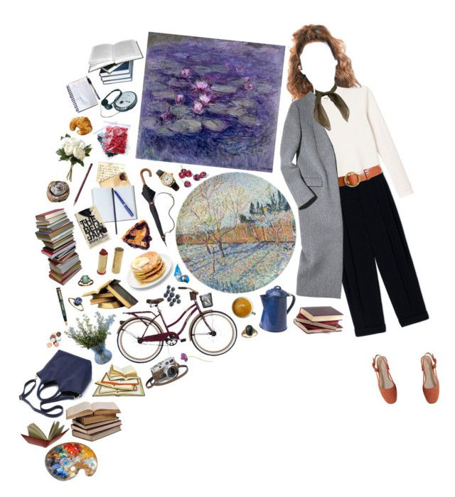 """""""Paintings & Books"""" by silentmoonchild ❤ liked on Polyvore featuring Monki, Sportmax, Frame, Coach, American Apparel, Smythson, ACHLA Designs, WALL, Hermès and Fountain"""