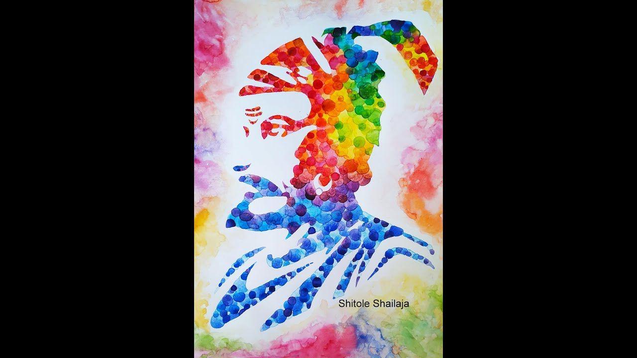 Shri Chhatrapati Shivaji Maharaj Dotted Painting Using Watercolor :: श्र...
