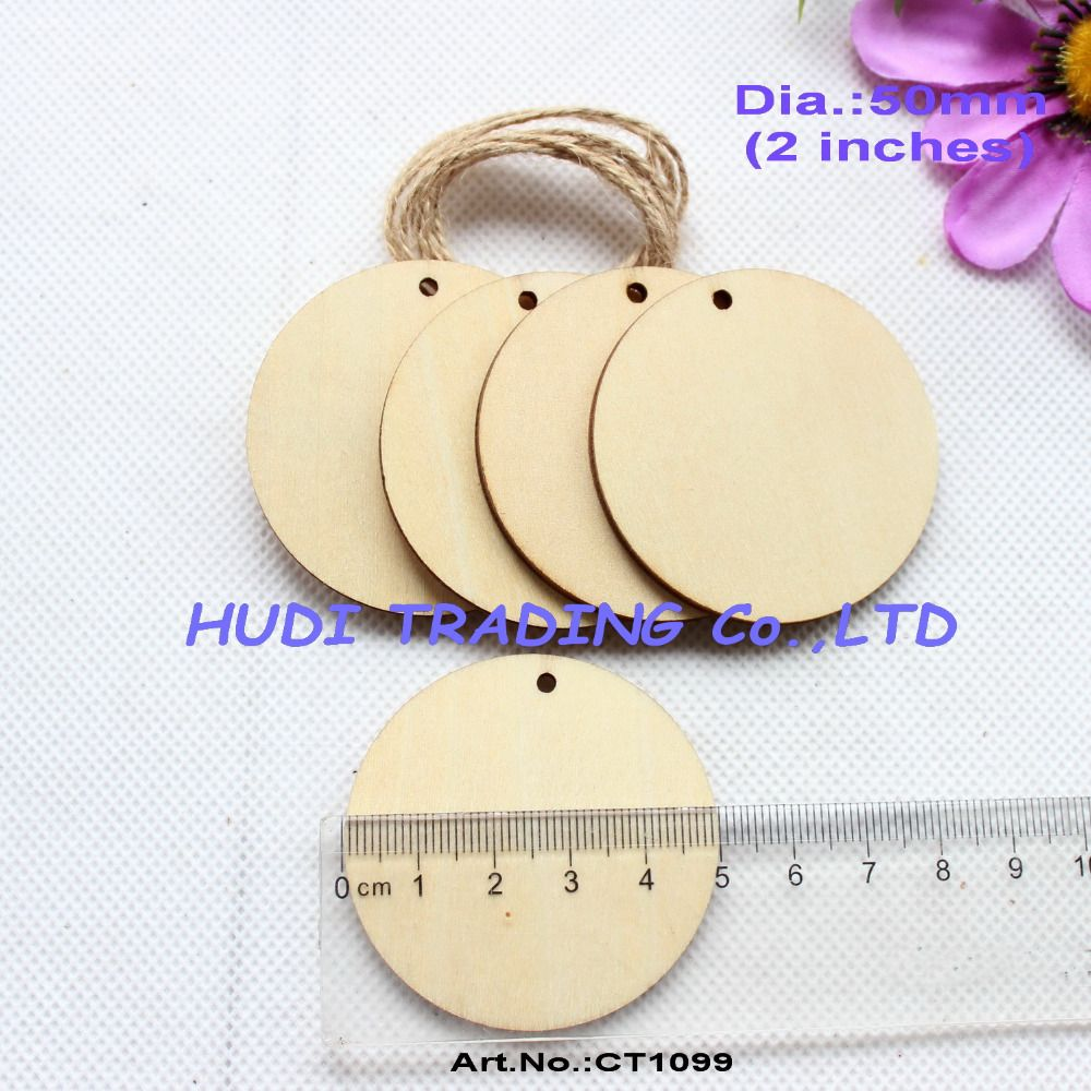 40pcs/lot) 50mm Unfinished Blank Wooden Circle Wood Disks tags Decor ...