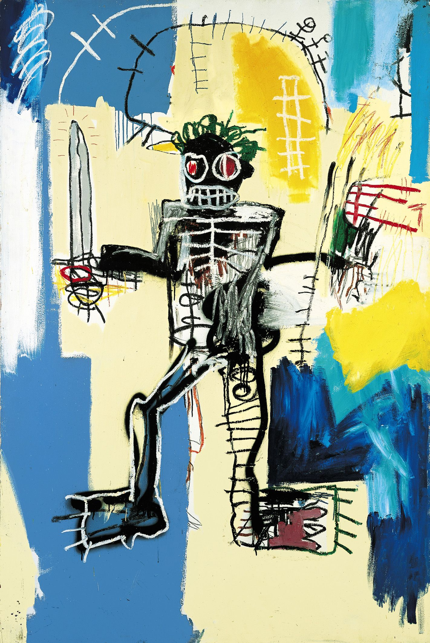 Jean-Michel Basquiat, Warrior, 1982, Acrylic and oil paint on wooden ...