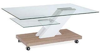 Zaujímavý a praktická konferenčný stolík s 8 mm hrubou hornou doskou z číreho skla a 6 mm hrubou sklenou poličkou na odkladacie. Základňa je hrubá 50 mm a je v prevedení dub sonoma. Stolík je pojazdný na 4 kolieskach. Šikmá noha je z MDF v prevedení biely lesk.