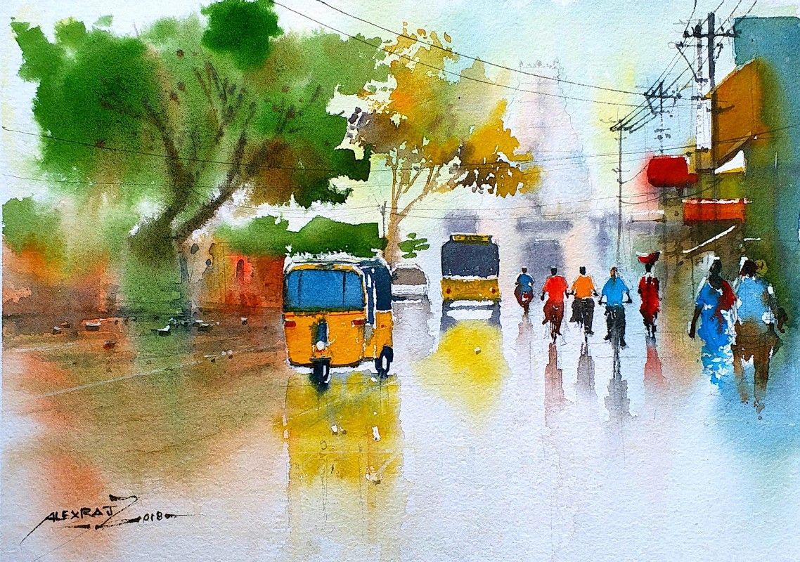Alexraj Watercolour Painting Artists Pondicherry India