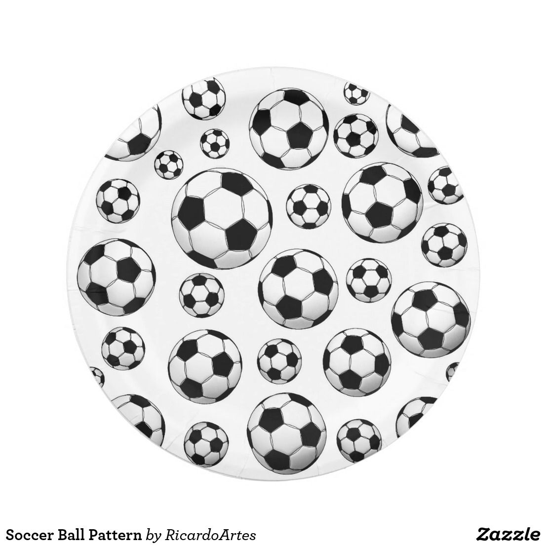 Soccer Ball Pattern Paper Plate