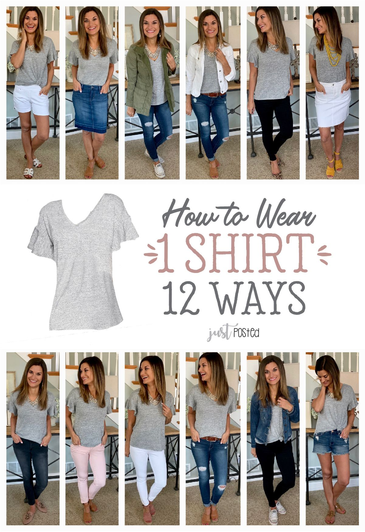 How to wear and style 1 gray shirt 12 different ways!  #howtowear