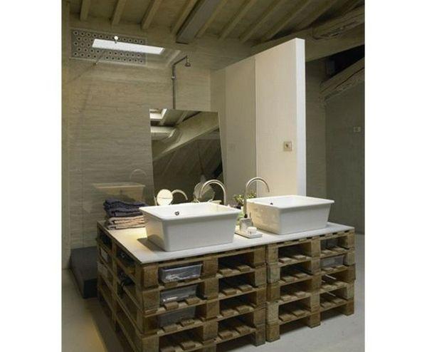 Badezimmer Holz Paletten Schrank Ideen paletten Pinterest - holz schrank wohnzimmer einrichtung